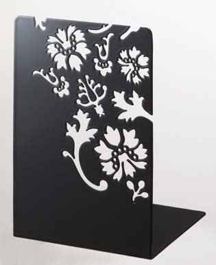 Kirie - Pair of Black Metal Bookends with Flower Cutout Pattern, Modern Home Decor