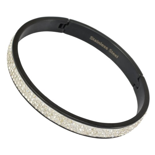 Kadima Stainless Steel Bangle Black IP Plated With 3-Line Clear Gemstone