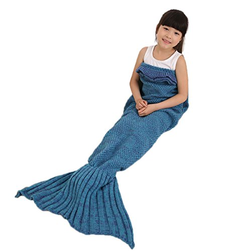 Mermaid Tail Blanket with Ruffles Crochet Warm Living Room Sofa Throws Perfect Christmas gift for Kids 55.18 inch x 27.56 inch (140cm x 70cm) (Lake blue)