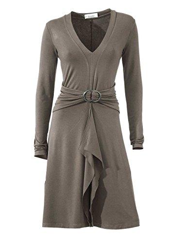 Linea Tesini Damen-Kleid Volantkleid Grau Größe 38