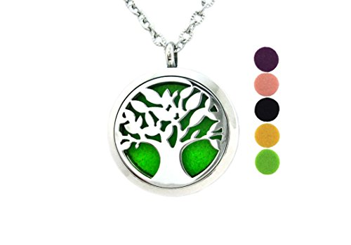 Tree Of Life Diffuser Necklace Pendant Aromatherapy Jewelry Surgical Stainless Steel Locket 24 Inch Adjustable Chain 5 Colorful Reusable Washable