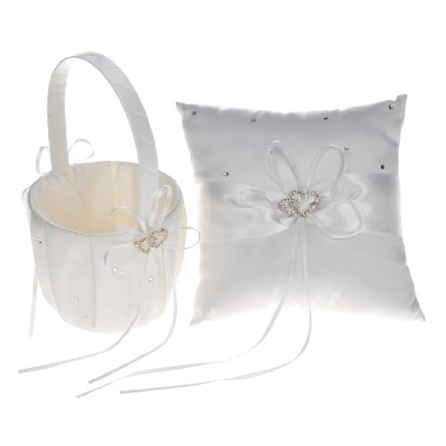 Remedios Boutique Ivory Satin Rhinestone Wedding Flower Basket and Ring Pillow