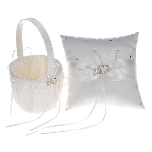 Remedios Boutique Ivory Satin Rhinestone Wedding Flower Basket and Ring Pillow