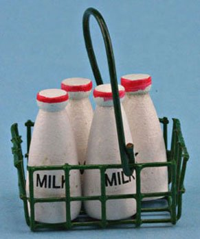 Dollhouse MILK BOTTLES IN BASKET - 1