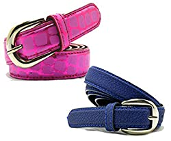 WHOLESOME DEAL women's pink and blue synthetic leather pin buckle belt (pack of two)