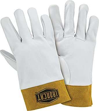 "West Chester 6140 Premium Top Grain Kidskin Leather TIG Welding Glove with 2"" Split Cowhide Cuff, Work, 0.6mm Thick, Extra Large, Pearl (Pack of 1 Pair)"