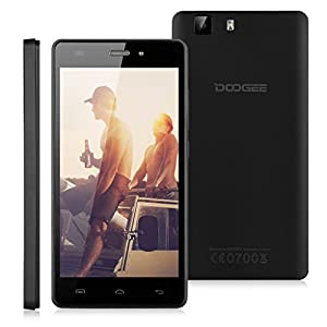 DOOGEE X5 Smartphone 5.0 '' IPS 3G Android 5.1 Lollipop MT6580 Quad Core 1.3GHz Dual SIM Téléphone Mobile 1 Go RAM+8 Go ROM DG Xender Intelligente Wake Air gestes GPS WIFI (Noir)