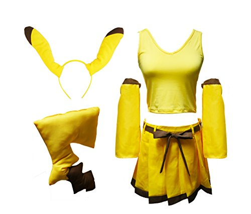 New Another Me Pokemon Pikachu Cute Yellow Outfit Set Top Dress Mini skirt Ear Hair band Tail Prop Suit Costume Women