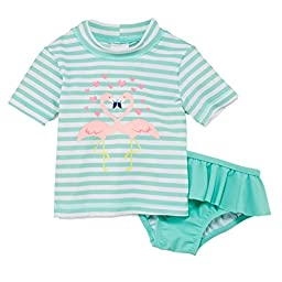 Carters Infant Girls Mint Swimming Suit Flamingo Rash Guard Cover Up Swim Set