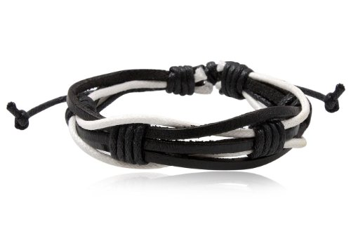 Fashion Black & White Leather Wrap Cuff Rasta Bracelet Bangle Men's Jewelry