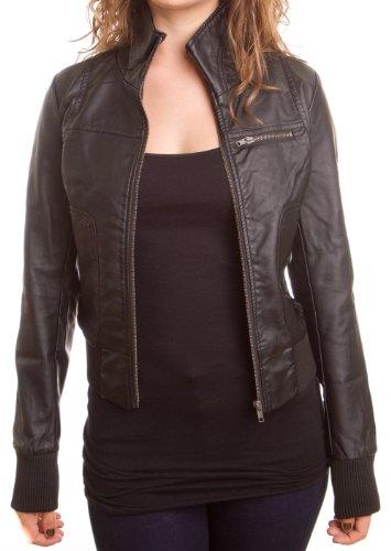 Женщины's кожа мото куртки w/ передних…