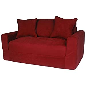 Fun Furnishings Micro Suede Sofa Sleeper W/ Pillows In Red