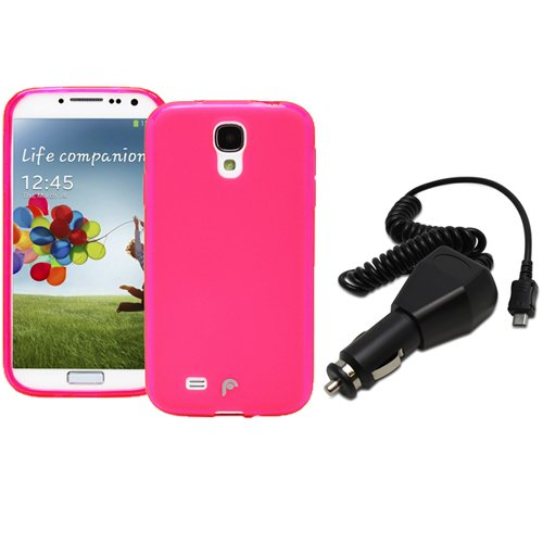 Fosmon 2 in 1 Bundle for Samsung Galaxy S4 IV / I9500 - 1x DURA Frost SLIM-Fit Case Flexible TPU Cover (Pink) 1x Fosmon Micro USB Car / Vehicle Charger