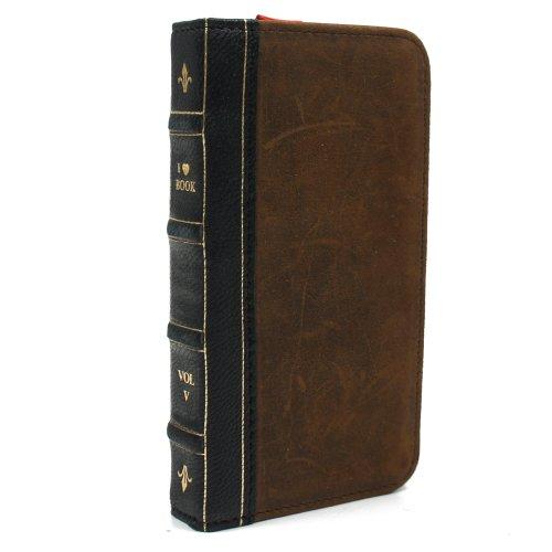 古い洋書のようなiPhone 5 ケース I ? Bookケース for iPhone 5 カメラ穴付き SoftBank ソフトバンク au エーユー (BLACK/ブラック)