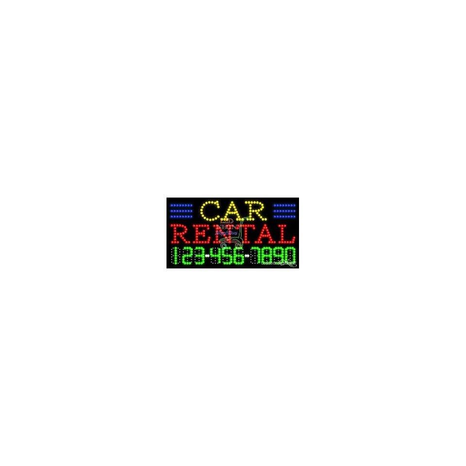 Car Rental LED Business Sign 17 Tall x 32 Wide x 1 Deep