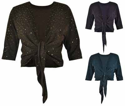 New Ladies Plus Size Sequin Knitted Tie Shrug Open Cardigan Womens Stretch Top