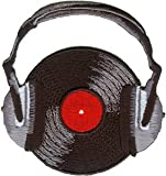 Novelty Iron on - Music Themed Rock n Roll Record With Headphones Black Logo Patch