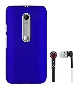 Chevron Rubberized Back Cover Case for Motorola Moto G Turbo Edition With Chevron 3.5mm Stereo Earphones (Royal Blue)