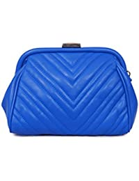 Urban Stitch Casual, Party Royal Blue Leatherette Sling Bag Cum Clutch For Women