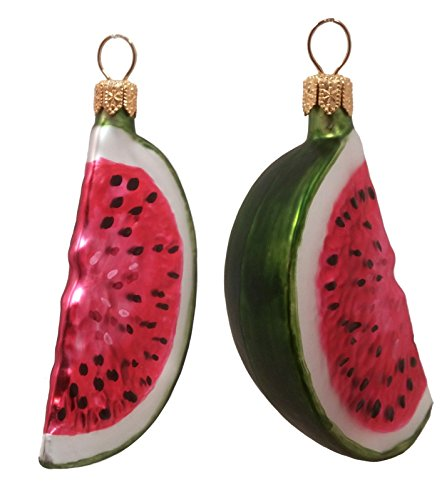 Watermelon Slices Fruit Polish Mouth Blown Glass Christmas Ornament Set of 2