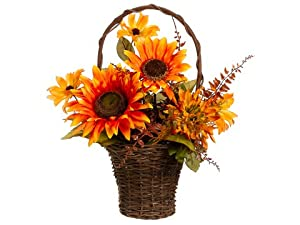 16 Sunflower/Mum/Rudbeckia /Pod Arrangement in Basket Orange Gold (Pack of 4)