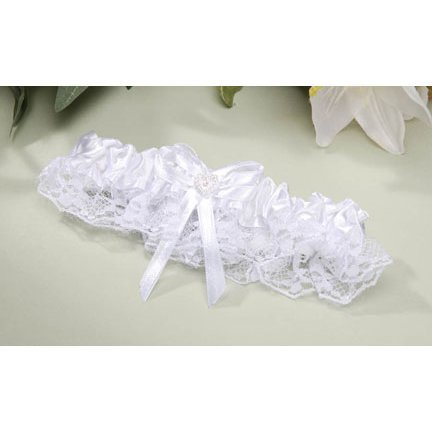 2 White Garter Belts With Heart