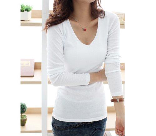 Amazon.co.jp: カジュアル レディース Tシャツ シャツ カットソー   Vネック   無地 / 長袖 /ブラック /ホワイト /グレー(白): Amazonファッション通販