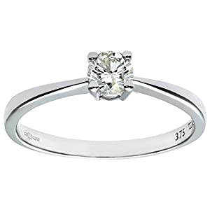 Ariel 9ct White Gold Engagement Ring, IJ/I Certified Diamond, Round Brilliant, 0.33ct