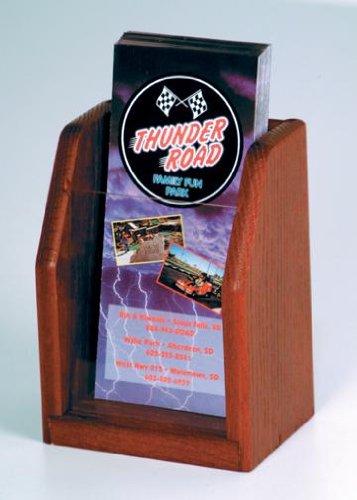 Wooden Mallet LT-1 Oak & Acrylic Single Pocket Countertop Brochure Holder / Rack in Dark Red Mahogany