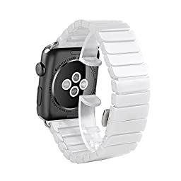 Apple Watch Band, HuanlongTM Luxury Ceramic Bracelet Watch Band Strap Replacement Wrist Band for Apple Watch & Sport & Edition Iwatch 42/38mm with Adapter(Ceramic White 38mm)