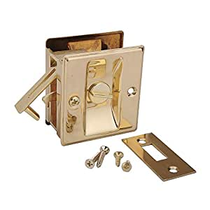 Pocket door privacy lock bright brass hardware latches for 007 door locks