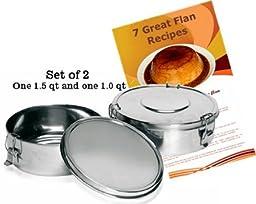 Flan Molds. 1.5 qt and 1 qt. Set of 2. Includes flan recipes