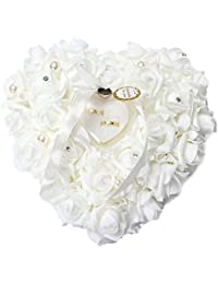 QTMY Heart Rose Wedding Ring Box Ring Pillow Wedding Favors By QTMY