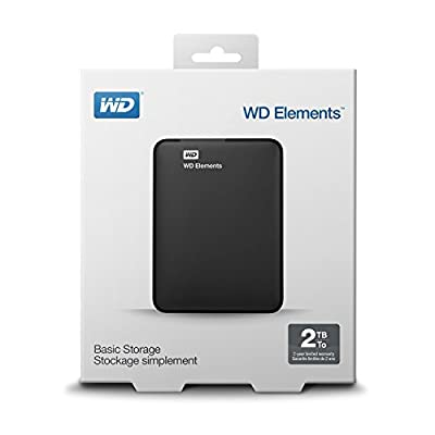 WD Elements USB 2TB 3.0 high-capacity portable hard drive for Windows.