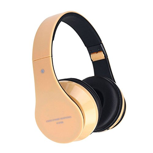 Doinshop Foldable Wireless Bluetooth Stereo Headset Mic For Iphone Samsung Htc (Cute Gold)