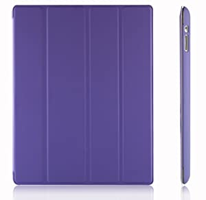 JETech® Gold Slim-Fit Folio Smart Case Cover with Back Case for Apple the New iPad 4 & 3 (3rd and 4th Generation with Retina Display) / iPad 2 (Purple)