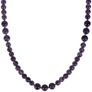 8mm and 10mm Amethyst Bead Necklace, 36""