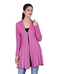 eWools Women's Woolen Shrug (Darshana-335_Pink White_X-Large)