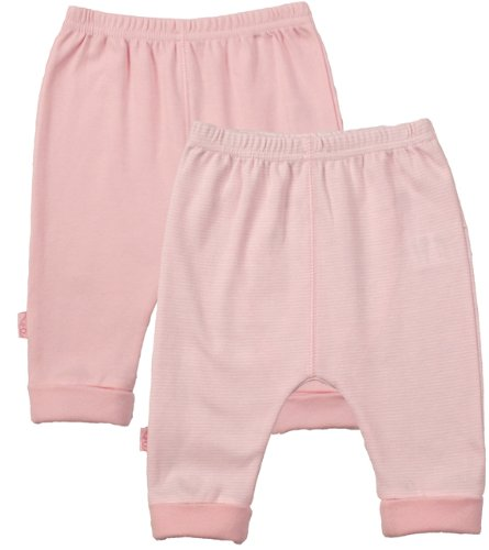 Kushies Everyday Layette 2 Pack Cuffed Pant, 3 Months, Pink Solid / Stripe