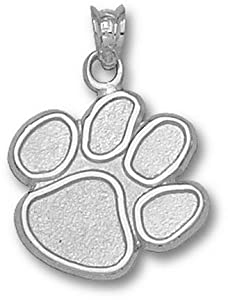 Clemson Tigers 5 8 Paw Pendant - 14KT White Gold Jewelry by Logo Art
