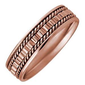 Amazon 14K Rose Gold Gear Pattern Mens Wedding Band 55mm Jewelry