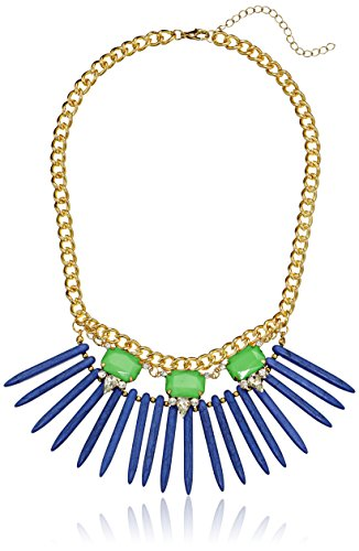 Blue Tone Stone With Spike Necklace, 18""