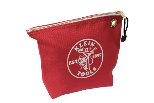 Klein Tools 5539Red Canvas Zipper Bag For Consumables, Red