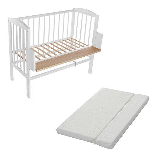 BABYBLUME-Kinderbett-Gitterbett-Beistellbett-Maria-90x40cm-Weiss-inklusive-Matratze-Comfort