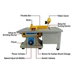 IXAER Mini Table Saw Gem Jewelry Rock Polishing Buffer Bench Lathe & Polisher Machine TM-2 0-26000r/min Benchtop Polisher Machine Set 350W 110V (Tamaño: 27 x 16 x 14 cm)