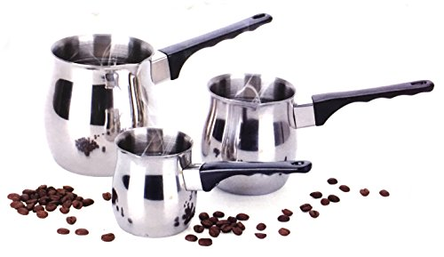 Turkish Coffee 3 Piece Stovetop Warmer Pot - 6oz 12oz & 24oz Pots, Stainless Steel (Stove Top Milk Warmer compare prices)