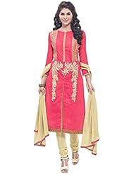 DivyaEmporio Women's Silk Cotton Pink Salwar Suit Dress Material