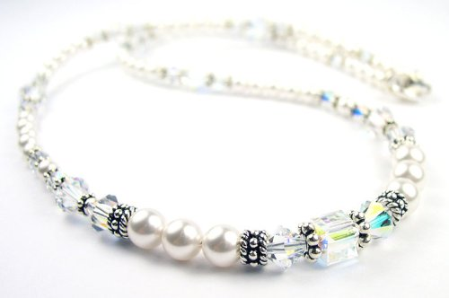April Crystal Beaded Swarovski Crystal Freshwater Pearl Birthstone Necklace in Sterling Silver - LARGE 20 In.
