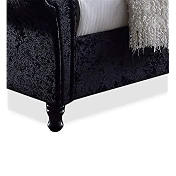 HDFUF Wholesale Interiors Castello Velvet Upholstered Faux Crystal-Buttoned Sleigh Platform Bed, Queen, Black