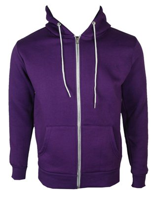 The Home of Fashion Mens Fleece Lined Hooded Jumper-S -Purple